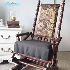 antique vintage platform rocking chair upholstered red wood gel stain