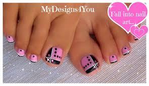 Toenail Art Design | Pink and Black Toes ♥ Diseño de Uñas de Pies ...