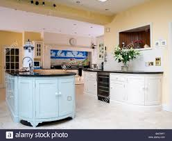 Yellow And Blue Kitchen Pastel Blue Island Unit In Large Pale Yellow Kitchen Extension