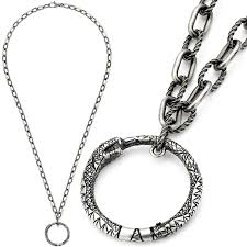 gucci gucci pendant necklace shin iku ring top aging finish sterling silver concealed clasp closure twist link chain snake men ouroboros snake pendant