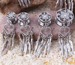 Dream Catcher Tunnels DreamCatcher Dangle Screw Back Plug 100L Stainless Steel Ear Gauge 12