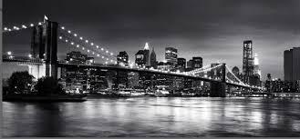 new york brooklyn bridge panoramic black white canvas wall art 44 x 20 inch on canvas black and white wall art with new york brooklyn bridge panoramic black white canvas wall art 44