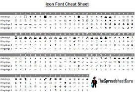 Sample Wingdings Chart Adorable Wingdings Webdings Font Icon Character Map Printable Cheat Sheet