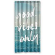 36wx72h inch light blue sea art with good vibes only es bathing waterproof bath fabric shower