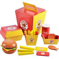 <b>Kids Simulation Pretend</b> Hamburger <b>Toy Wooden</b> Hamburger Fries ...