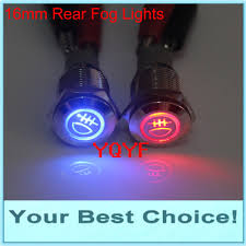 No Wire Lights 16mm 12v Led Rear Fog Light Symbol Push Button Switch No