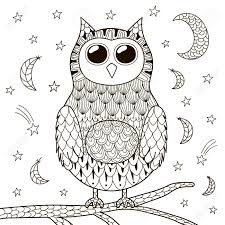 cute owl at night for coloring book black and white background stock vector 58441374
