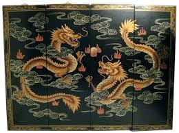 asian wall art mother of pearl decor inch wide hand painted happy dragon oriental panels with