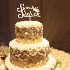 Rustic Wooden Sweet Sixteen Cake Topper 16th Birthday Party Cake