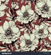 Handmade Wallpaper Design Graphic Seamless Pattern Flowers Design Wallpaper Stock