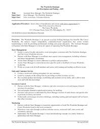 Assistant Storeager Resume For Job Of Your Sample Description