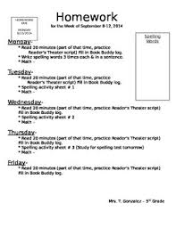 Homework Sheet Template For Teachers Weekly Homework Cover Sheet Template By Mrs Gonzalezes Goodies Tpt