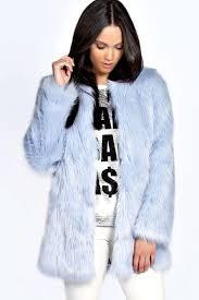 boohoo womens brody longline plush faux fur coat