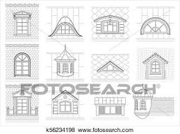 Attic drawing Historic Set Of Classic Mansard Facade Windows Pediments Attics Silhouettes Of City Roofs The Best Of Draw Something Clip Art Of Set Classic Attic Windows For Facade K56234198 Search