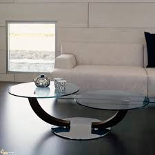 wonderful round glass coffee table decorating ideas smooth dark wooden floor double curved buffer white upholstered