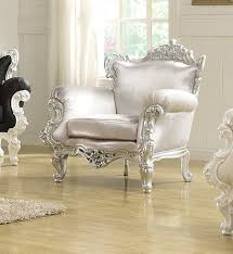 Traditional Accent Chairs Living Room The Silver Odessa French Victorian Style Accent Arm Chair 999