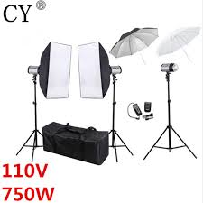 cy photography studio soft box flash lighting kit 750w storbe flash light softbox stand set photo