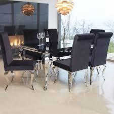 7 piece black dining room set. Louis Contemporary Black Or White Glass \u0026 Chrome 2m 7 Piece Dining Table Room Set G