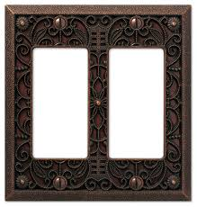 filigree cast 2 rocker wall plate aged bronze