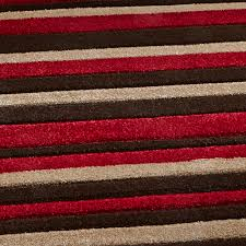 brown red stylish modern striped rug machine made home decor centre piece mat