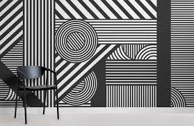 Black And White Mural Design Oriz Geometric Black And White Wall Mural Wall Murals