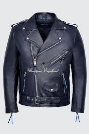 brando men s m navy blue classic motorcycle biker cowhide real leather jacket