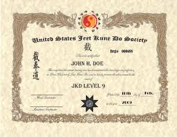 martial arts certificate template martial arts certificate templates jeet kune do custom certificate