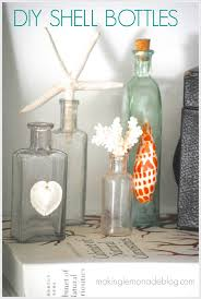diy shell bottles beach coastal decor ideas