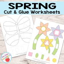 Free Spring Cut and Glue Worksheets - Easy Peasy Learners