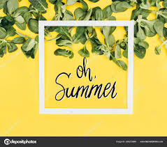 white frame words summer green leaves yellow stock photo