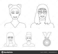 メガネの女の子髪型で女性の顔顔や姿はアウトライン スタイルの