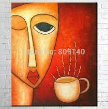 kitchen paintingsLady with Coffee abstract oil painting canvas handmade home