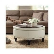 Round storage ottoman coffee table