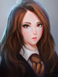 backlighting blush brown eyes brown hair eyelashes eyeliner grey background harry potter hermione granger highres lips long hair looking at viewer makeup
