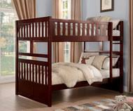 Stanford Full over Bunk Bed Cherry Solid Wood Beds | Space-saving Full-Size