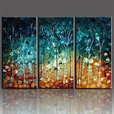 handmade painting trees large frameless paintings oil picture 3 piece canvas wall art set home decoration hogar in painting calligraphy from home garden  on large canvas wall art trees with handmade painting trees large frameless paintings oil picture 3