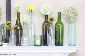 Wine Bottles Decoration Ideas An easy spring mantel decorating idea with wine bottles Green 62