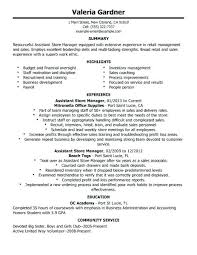 Resume Examples For Retail Best Retail Assistant Store Manager
