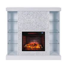 southern enterprises bekston 55 in mosaic tiled curio infrared electric fireplace in white