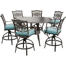 hanover traditions 7 piece aluminum outdoor high dining set with round cast top table