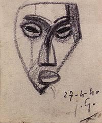 """Masque africaine Julio González Lápiz sobre papel 1940 """"Una de mis preferidas, se trata de una pieza de fuerte influencia cubista que remite a la producción ... - 1079633850_1"""