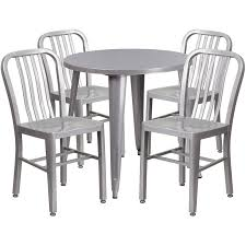 30 round silver metal indoor outdoor table set with 4 vertical slat back chairs