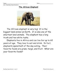 This Reading Comprehension Worksheet - The African Elephant is for ...