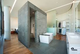 open concept master bedroom and bath bathroom modern