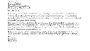 cover letter school administrator inspirational school administrator cover letter sample or letters of