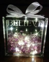 Glass Present Box Lights Decorative Purple Believe Glass Block Etched Glass Block