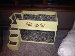 repurposed tv stand indoor dog bed with loft