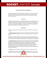 Subcontractor Agreement Format Subcontractor Agreement Contract Form Rocket Lawyer