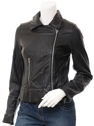 women s black leather biker jacket montreal front