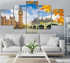 modern fashion hd printed city canvas painting children s room home decor paintings 5 panel frameless wall